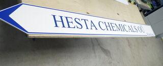 Ohjekyltti Hesta Chemicals