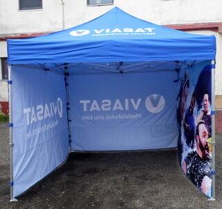 Kaksipuolinen digipainettu 3x3 m Pop-up teltta Viasat