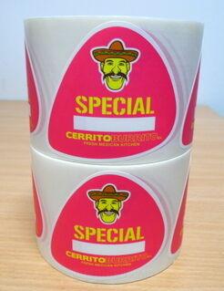 Etikettitarrat rullassa Cerrito Burrito